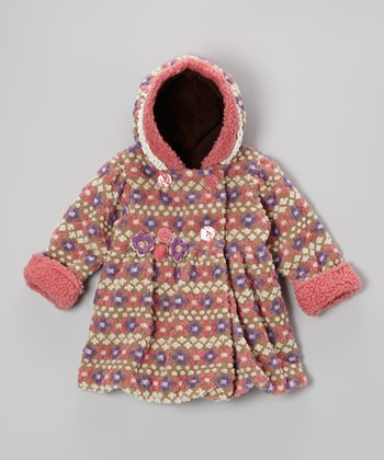 Tan Fair Isle Mary-Jayne Bubble Coat - Girls