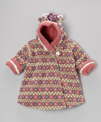 Tan Fair Isle Wrap Swing Coat - Toddler