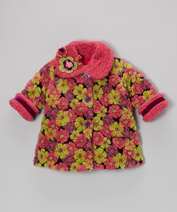 Berry Blooms Away Sweet Pea Coat - Girls