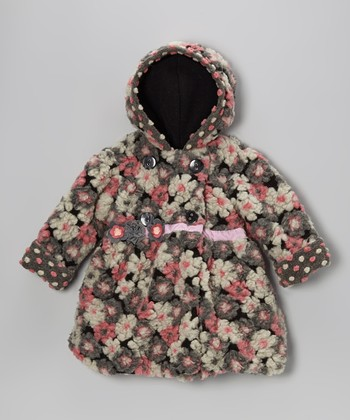 Pink & Gray Blooms Away Bubble Coat - Infant, Toddler & Girls