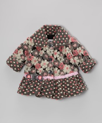 Pink & Gray Blooms Away Sweet Pea Coat - Infant, Toddler & Girls