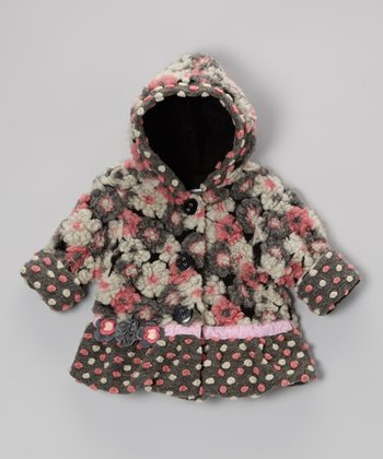 Pink & Gray Blooms Away Hooded Swing Coat - Infant & Girls
