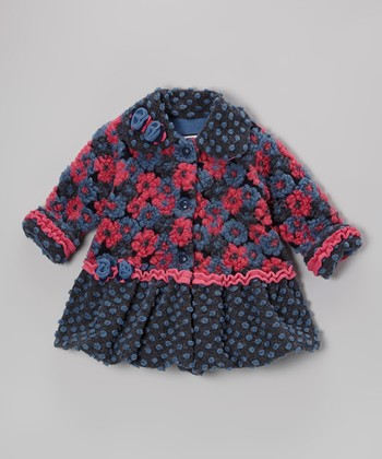 Navy Blooms Away Sweet Pea Coat - Toddler & Girls