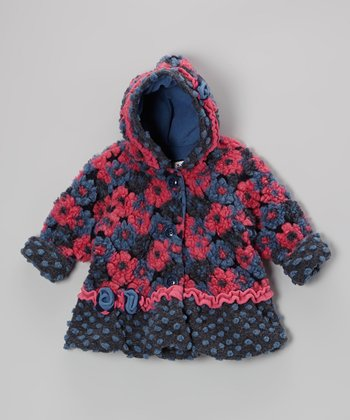 Navy Blooms Away Hooded Swing Coat - Infant, Toddler & Girls