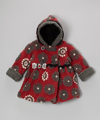 Red On the Dot Mary-Jayne Bubble Coat - Toddler & Girls