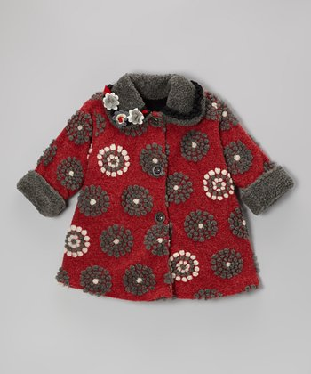 Red On the Dot Sweet Pea Coat - Toddler