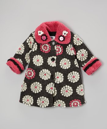 Black & Pink On the Dot Sweet Pea Coat - Infant, Toddler & Girls