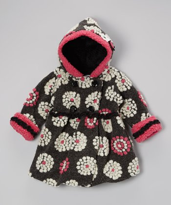 Black & Pink On the Dot Bubble Coat - Toddler