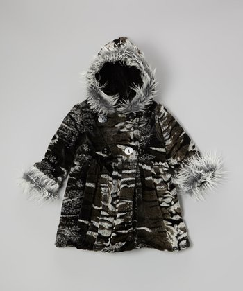 Black & Gray Faux Fur Bubble Coat - Toddler & Girls