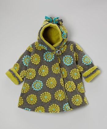 Gray & Green On the Dot Wrap Swing Coat - Girls