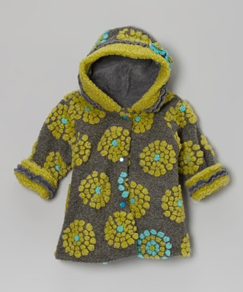 Charcoal On the Dot Hooded Swing Coat - Infant, Toddler & Girls