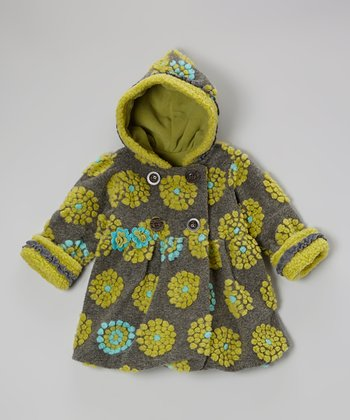 Gray & Green On the Dot Bubble Coat - Toddler & Girls