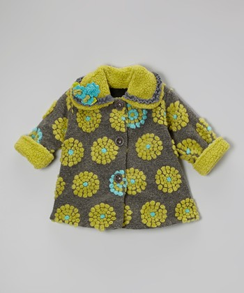 Gray & Green On the Dot Sweet Pea Coat - Toddler & Girls