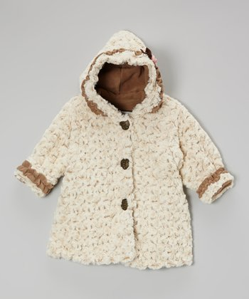 Beige Twist Faux Fur Hooded Swing Coat - Toddler