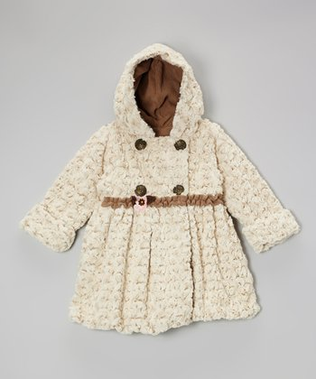 Beige Twist Faux Fur Bubble Coat - Toddler & Girls