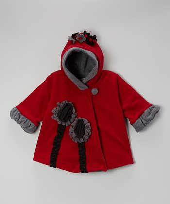 Red Fleece Wrap Swing Coat - Toddler & Girls