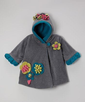 Charcoal Fleece Wrap Swing Coat - Toddler & Girls