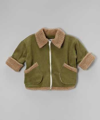Green Fleece Aviator Coat - Infant & Boys