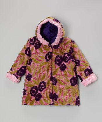 Rose & Purple Rose Hooded Swing Coat - Infant