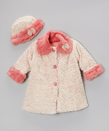 Coral Wave Faux Fur Sweet Pea Coat & Hat - Girls