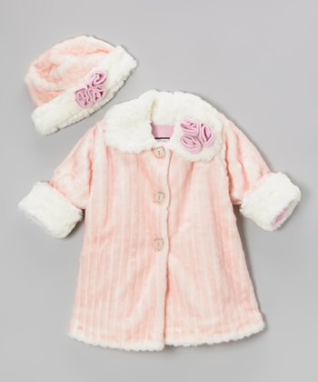 Pink Faux Fur Sweet Pea Coat & Hat - Infant, Toddler & Girls