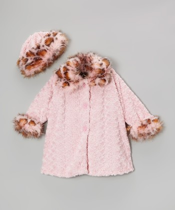 Pink Faux Fur Trim Sweet Pea Coat & Hat - Infant, Toddler & Girls