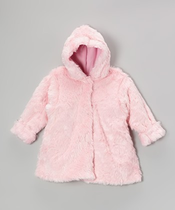 Pink Faux Fur Hooded Swing Coat - Infant