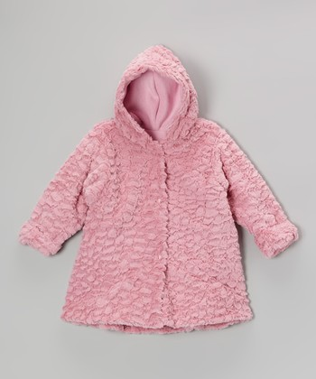 Rose Wave Faux Fur Hooded Swing Coat - Infant