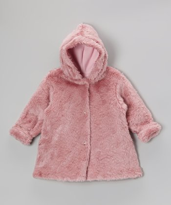 Raspberry Faux Fur Hooded Swing Coat - Infant