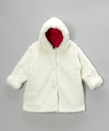 White Faux Fur Hooded Swing Coat - Infant & Toddler