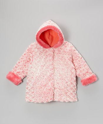 Coral Twist Faux Fur Hooded Swing Coat - Infant & Toddler