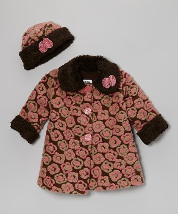 Brown Anne Flower Sweet Pea Coat & Hat - Infant, Toddler & Girls