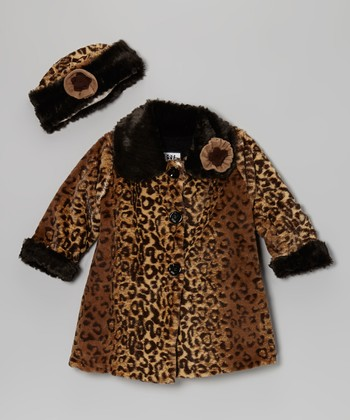 Brown Faux Fur Softie Sweet Pea Coat & Hat - Toddler & Girls