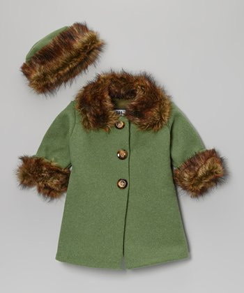 Green Faux Fur Trim Sweet Pea Coat & Hat - Infant & Toddler