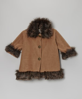 Cappuccino Fleece Faux Fur Sweet Pea Coat - Toddler & Girls