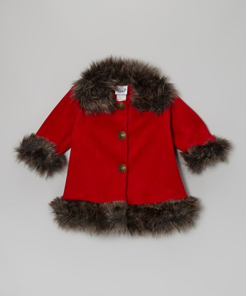 Red Fleece Faux Fur Sweet Pea Coat - Toddler & Girls