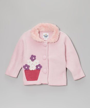 Pink Flower Faux Fur Jacket - Infant, Toddler & Girls