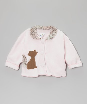 Pink Cat Faux Fur Jacket - Infant, Toddler & Girls