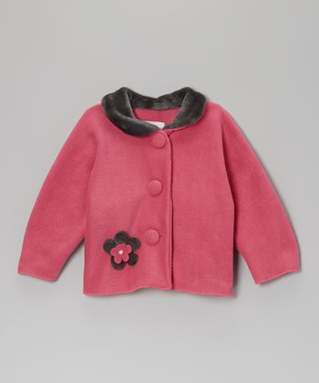 Brite Pink Flower Faux Fur Jacket - Infant, Toddler & Girls