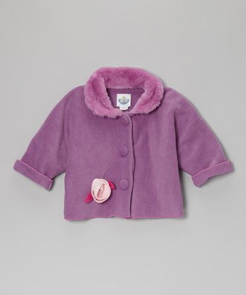 Lavender Flower Faux Fur Jacket - Infant, Toddler & Girls