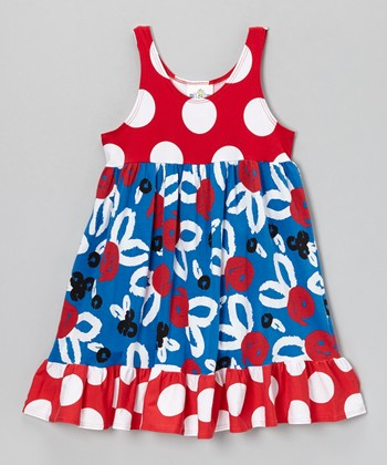 Red & Blue Brush Rose Swing Dress - Infant, Toddler & Girls