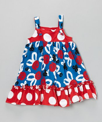 Blue & Red Brush Rose Ruffle Jumper - Toddler & Girls