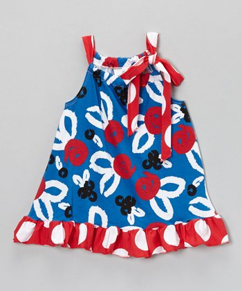 Blue & Red Brush Rose Tie-Neck Tunic - Toddler & Girls