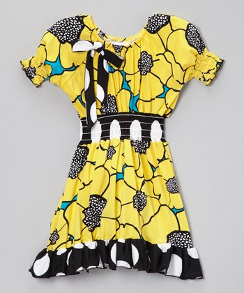 Yellow & Black Flower Burst Dress - Infant, Toddler & Girls