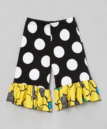 Black & Yellow Flower Burst Ruffle Pants - Girls