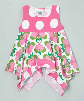 Pink & White Mod Flower Handkerchief Top - Toddler & Girls