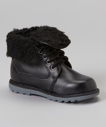 Black Foldover Ankle Boot