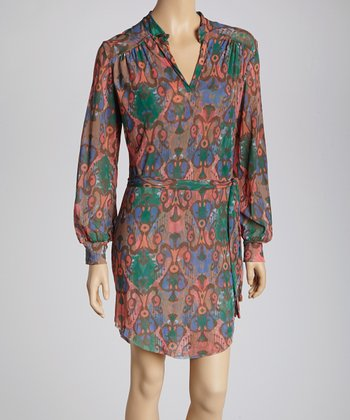 Coral & Green Ikat Sash-Tie Dress