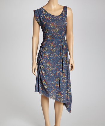 Teardrop Indigo Abstract Sash-Tie Dress