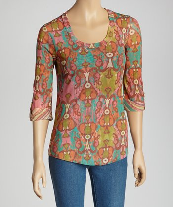Cupcake & Jamboree Ikat Scoop Neck Top